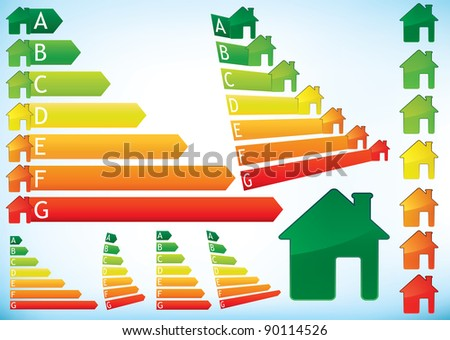 Energy Efficiency Rating Graphs in color combining bar arrows and houses, set of illustrations. - stock vector