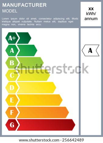 Energy efficiency rating label with sample text