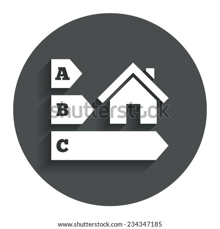 Energy efficiency sign icon. House building symbol. Gray flat button with shadow. Modern UI website navigation. Vector - stock vector