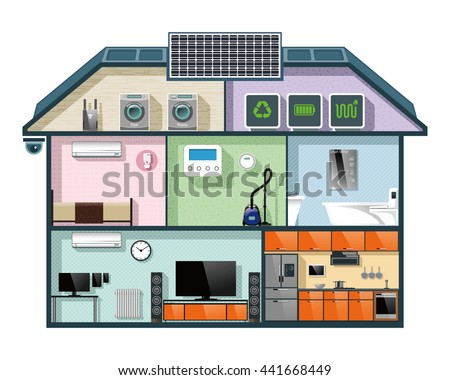 Energy efficient house cutaway image for smart home automation concept. Vector illustration. - stock vector