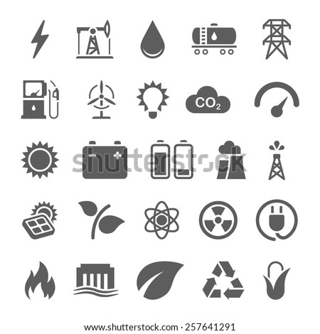 Energy, electricity, power, ecology icons - stock vector