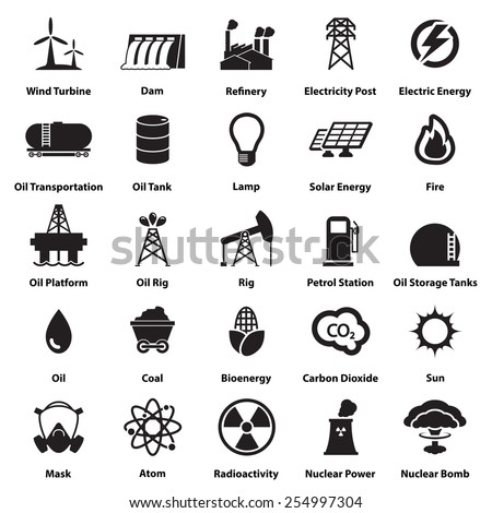 Energy Electricity Power Icons Signs Symbols Stock Photo Photo