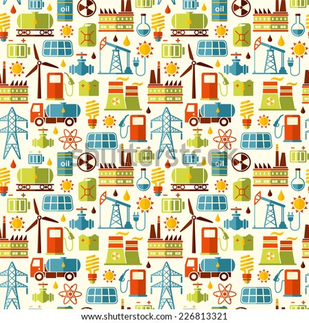 Energy, electricity, power seamless vector background. Flat style.  - stock vector