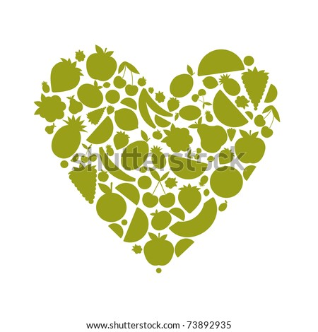 Energy fruit heart shape for your design - stock vector