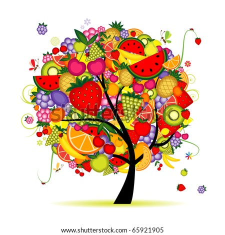 Energy fruit tree for your design - stock vector