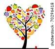 Energy fruit tree heart shape for your design - stock vector