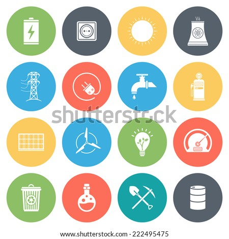 Energy, fuel, resources round vector icons collection in pastel colors. Isolated on white background. - stock vector