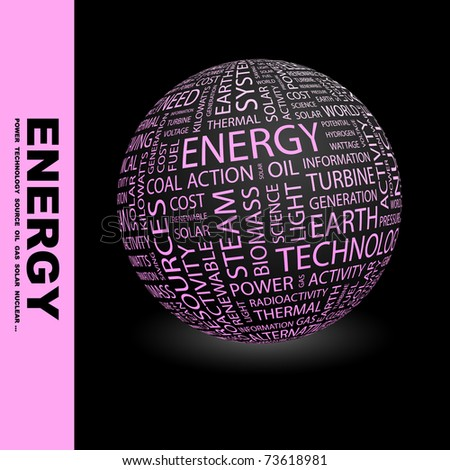 ENERGY. Globe with different association terms. Wordcloud vector illustration. - stock vector