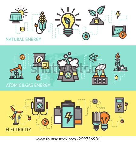 Energy horizontal banner set with natural atomic gas electricity elements isolated vector illustration - stock vector