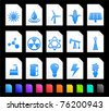 Energy Icon on Document Icon Collection Original Illustration - stock vector