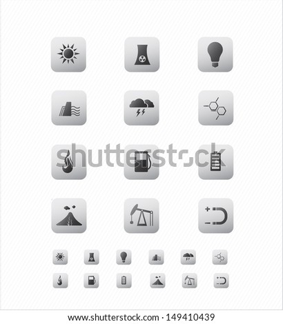 Energy Icon on Square Gray Color Button Collection  - stock vector
