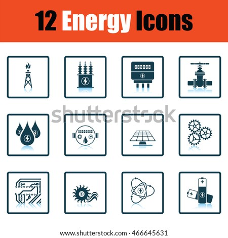Energy icon set. Shadow reflection design. Vector illustration.