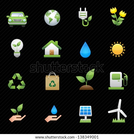 Energy icons and black background