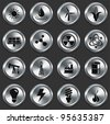 Energy Icons on Metallic Button Collection Original Illustration - stock vector