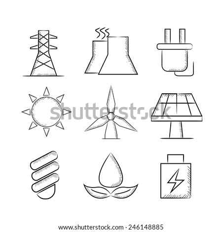 energy icons, sketch icons - stock vector