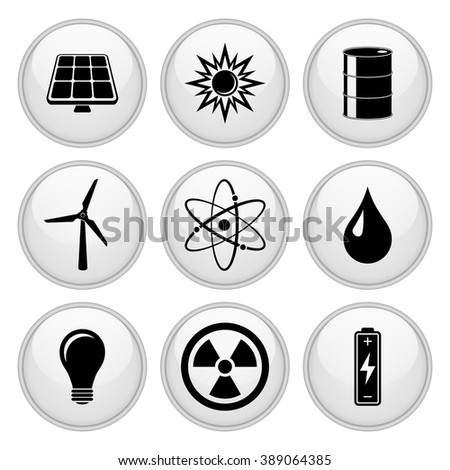 Energy Icons White Button Icon Set - stock vector