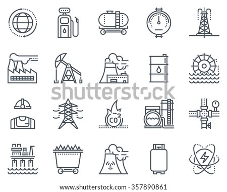 Energy industry icon set suitable for info graphics, websites and print media. Black and white flat line icons. - stock vector