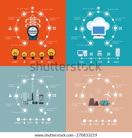 Energy    infographic cloud computing set.   Vector illustrations. - stock vector