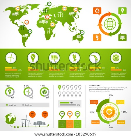 Energy infographics layout design template with eco icons set world map charts and graphs vector illustration - stock vector