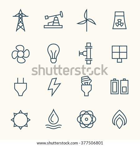 Energy line icons - stock vector