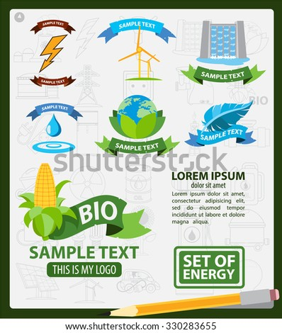 Energy logos, energy infographics, logos with ribbon - stock vector