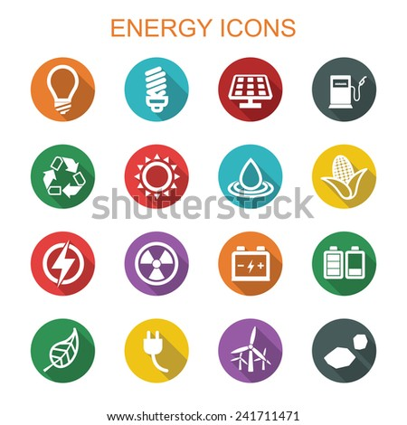 energy long shadow icons, flat vector symbols - stock vector