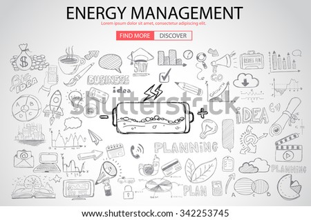 Energy management with Doodle design style :power savings, optimization process, creative thinking. Modern style illustration for web banners, brochure and flyers. - stock vector