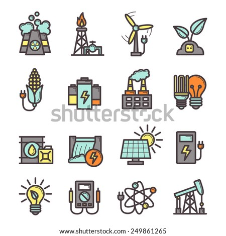 Energy manufacturing icons set with plug bulb pylon nuclear station isolated vector illustration - stock vector