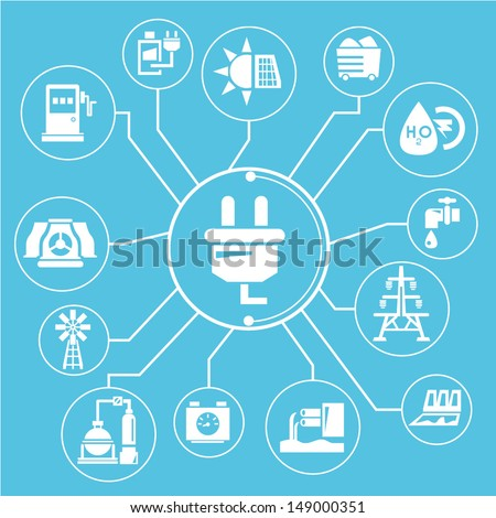 energy, power mind mapping, info graphic, blue - stock vector