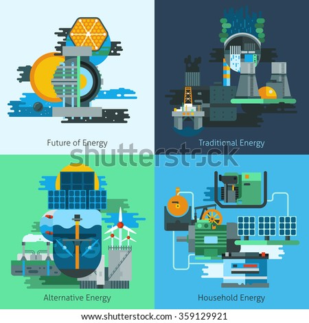 Energy production design concept set with fuel and electiricy manufacturing flat icons isolated vector illustration - stock vector