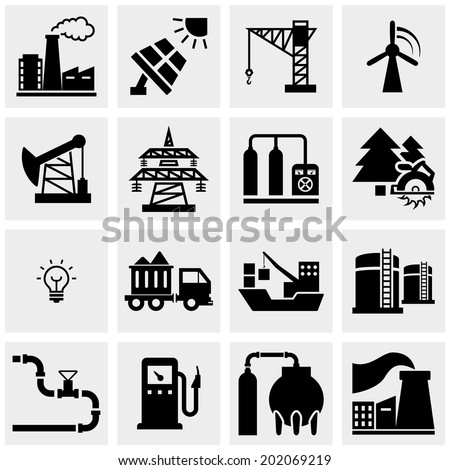 Energy production vector icons set on gray.