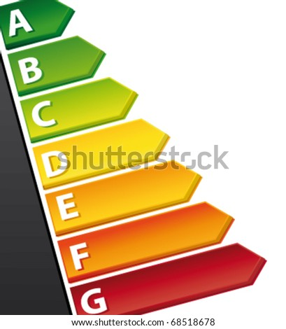 Energy Rating Graph with arrows on a document. Vector 3d illustration. - stock vector
