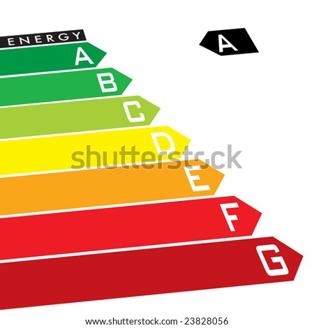 Energy rating system with multi coloured arrows at an angle - stock vector