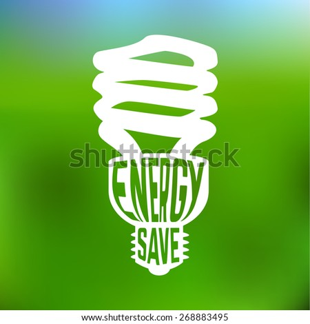 Energy save concept poster with blurred background. Vector illustration
