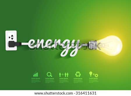 Energy saving and simple light bulbs.Green background vector illustration template design - stock vector