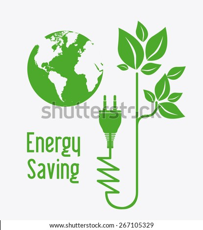 Energy saving design over white background, vector illustration