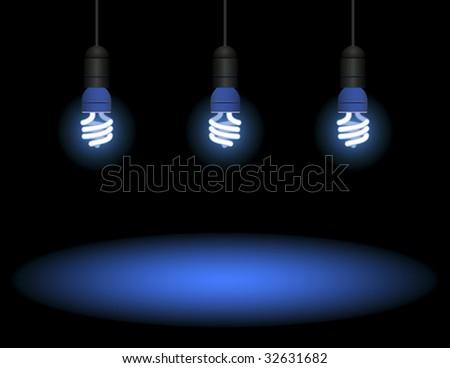 Energy saving fluorescent light bulb - editable vector - stock vector
