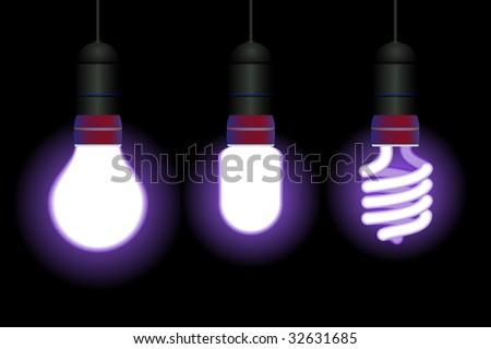 Energy saving fluorescent light bulbs - editable vector - stock vector
