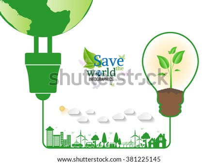 Energy saving green bulbs concept .save world vector illustration.