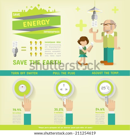 ENERGY SAVING INFOGRAPHICS - stock vector