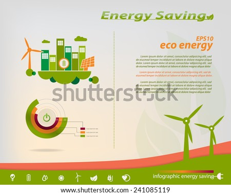 Energy saving infographics collection solar, wind, water, energy industry theme design elements, icons energy saving - stock vector