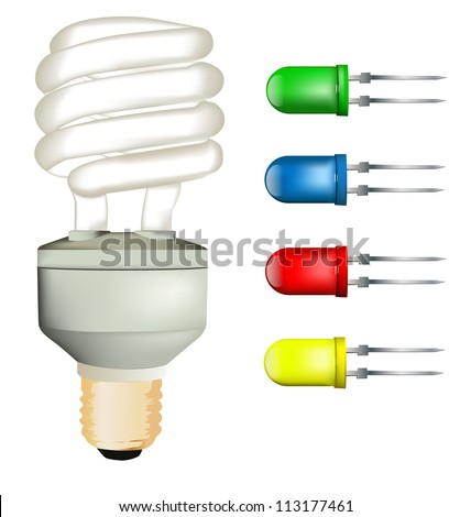 Energy saving lamp and LED set - stock vector
