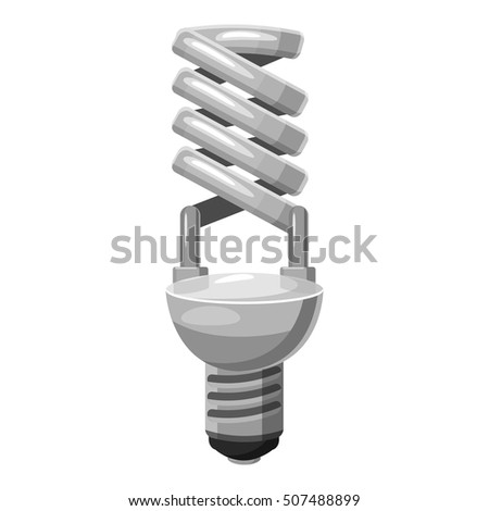 Energy saving lamp icon. Gray monochrome illustration of energy saving lamp vector icon for web