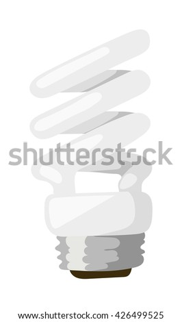 Energy saving lamp isolated on white background and power save lamp light vector. Power save lamp energy technology and electric light bulb power saver lamp. Power save lamp bright economy alternative - stock vector