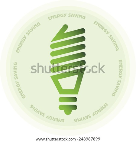 Energy saving lamp or light bulb sticker in green color circle icon or stamp - stock vector