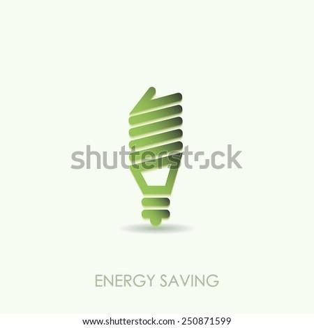 Energy saving light bulb icon green color design isolated art - stock vector