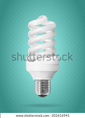 Energy saving light bulb on blue background - stock vector