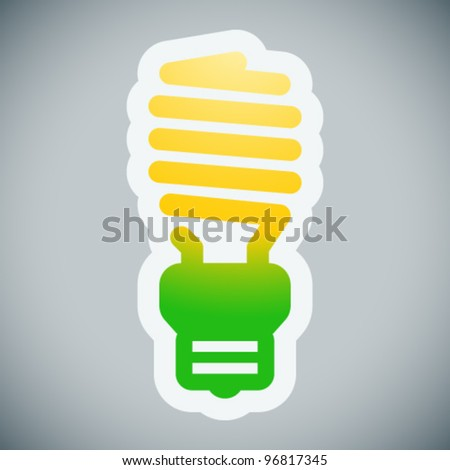Energy saving light bulb on grey background - stock vector