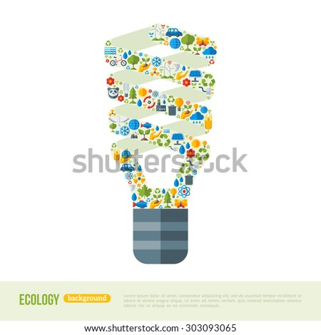 Energy-saving Light Bulb with ecology Icons Pattern. Vector Illustration. Ecologic Creative Concept. Abstract Infographics Template. Save the planet concept.