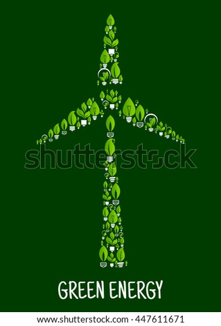 Energy saving light bulbs icons with green leaves and twigs combine into silhouette of modern wind turbine. Green energy and ecological concept for renewable energy theme or wind farm symbol design - stock vector